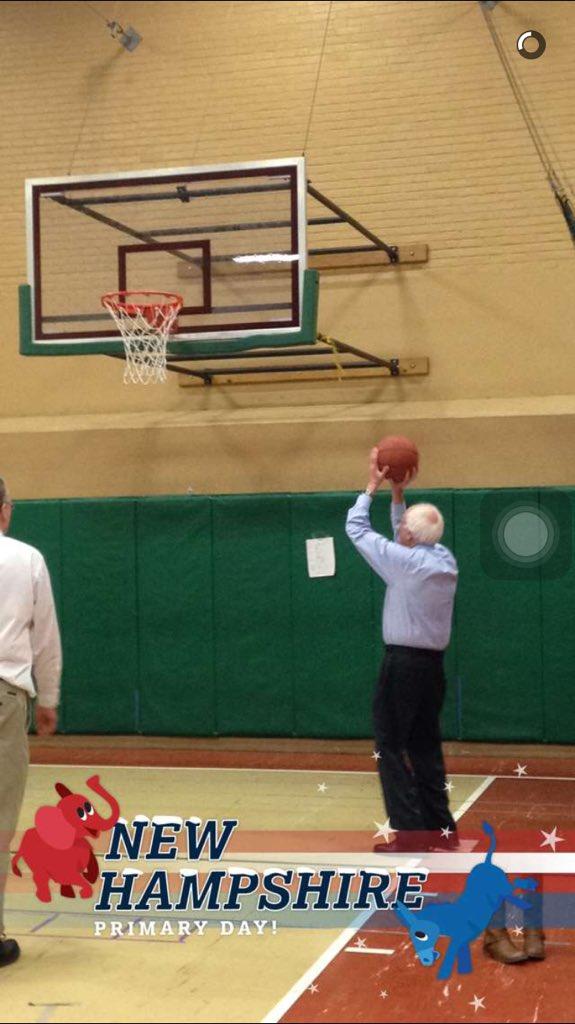 Bernie shootin' hoops.