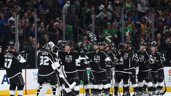 LOS ANGELES, CA - MARCH 17: Members of the Los Angeles Kings celebrate after a game against the New York Rangers at STAPLES Center on March 17, 2016 in Los Angeles, California. (Photo by Juan Ocampo/NHLI via Getty Images) *** Local Caption ***
